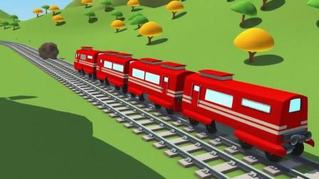 警车和消防车接到好朋友小火车的救助电话,小火车被一个大石头给困住了