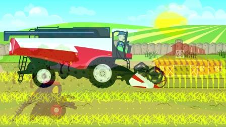 快乐的农夫开着收割机在田里收割麦子,我爱劳动