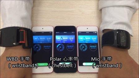 测试视频——Mio手带,Polar心率带和WBD手带的心率