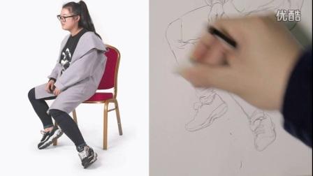 刘雪松速写视频完整版-女青年坐姿2--美术云课堂_高清
