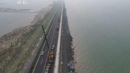 西大堤维护工程航拍视频-块石抛填