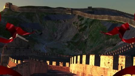 中国范儿背景视频金龙黄河大鼓红绸歌舞晚会LED大屏幕背景素材