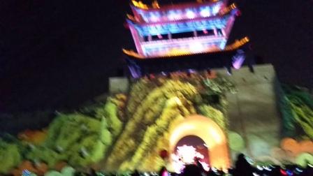 韩城市一带一路老城南城门,灯光秀。