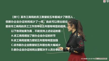 2018年公务员考试辅导课程【判断推理】:论证类(2)