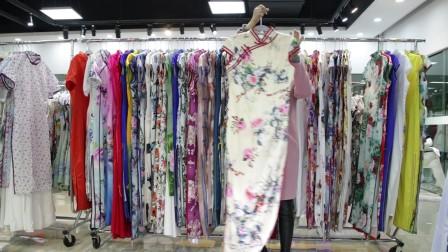精品女装批发服装批发女士时尚夏装长款精品仿真丝面料旗袍20件起批,可挑款零售混批