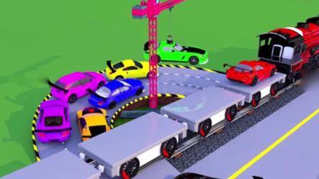 汽车玩具卡通:火车运输许多各种颜色的小赛车.avi