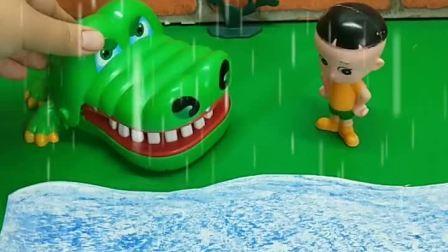 亲子幼教有趣玩具:七娃发烧了,要过河去看病。你们能帮帮他吗