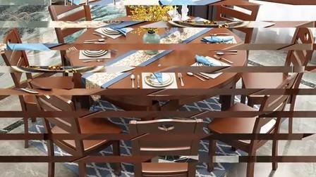 可比优居中式优雅泰国橡胶木全套实木餐桌椅