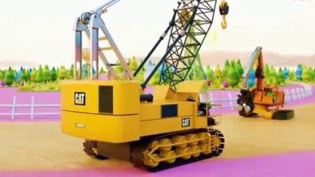 工程车视频 吊车挖掘机变身洒水车和收割机在农场工作.avi