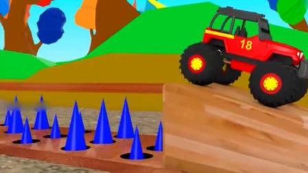大脚怪兽车障碍赛学习颜色和形状.avi