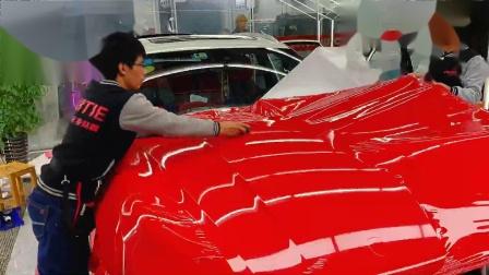 保时捷Macan 引擎盖超亮胭脂红施工视频教程