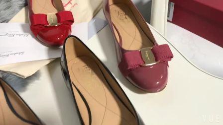 君晓天云19正品代购FERRAGAMO菲拉格慕女鞋平底漆皮单鞋圆头浅口芭蕾舞鞋