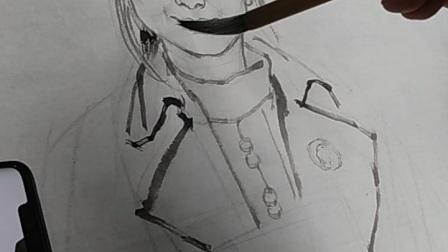 课堂写生丸子头女人3