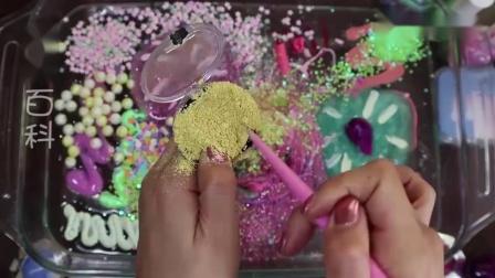 用彩色化妆品、闪粉亮片等混泥,无硼砂,减压又好玩