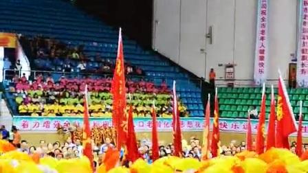 东莞追梦艺术团参加市第十四届老年人运动会护旗方阵演出现场