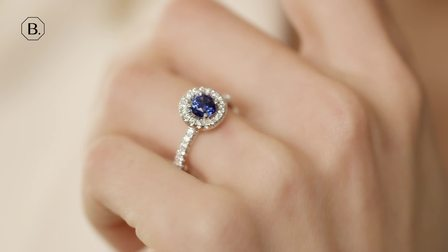 Halo光环蓝宝石白金镶钻戒指
