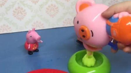 猪妈妈给佩奇吹了泡泡,佩奇拿球拍玩,这个泡泡质量真好