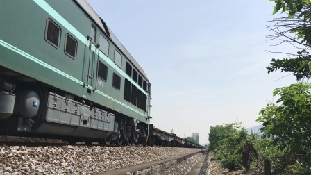 (广茂线火车视频)DF4B 7646牵引全列平车(41185)通过肇庆学院道口