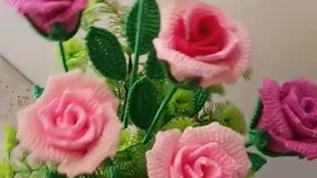 卜卜·编织 毛线酒杯玫瑰花束