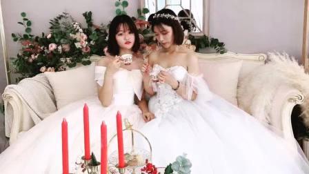 爱柔术软功的百合小姐姐和闺蜜的第一次接吻婚纱摄影写真