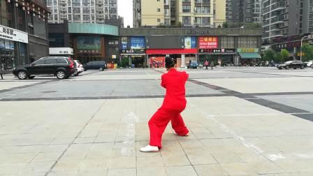 绵阳市老年武术协会,石桥新城太极队,冯俊秀演示:四十二式太极拳