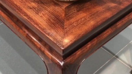 原木铁力木束腰霸王枨画桌 明式长方桌 实木画实