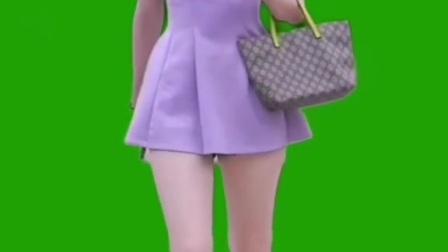 美女走秀绿屏素材