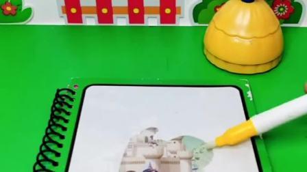 贝儿想破坏白雪的画册,在画册上倒水,不料画册正好需要水