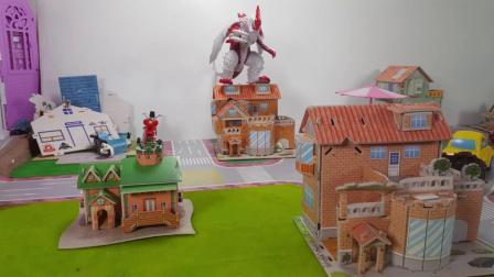 奥特曼玩具总动员第三集之保卫城市:怪兽芝庞顿窜入城市搞破坏