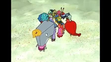 章鱼哥蟹老板要刺破海绵宝宝的泡泡,赶紧逃吧.