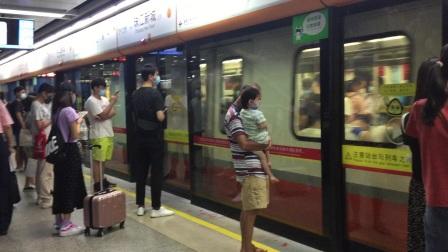2020年7月21日,本务广州地铁集团,广州地铁3号线B2型(03x062-063)列车执行(天河客运站-番禺广场)交路,本车于珠江新城进站。