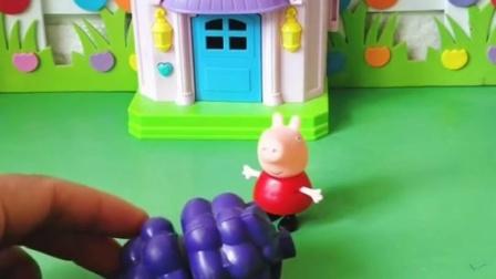 佩奇乔治一家都在分水果,猪爸爸想要吃西瓜,猪妈妈想吃啥呢?