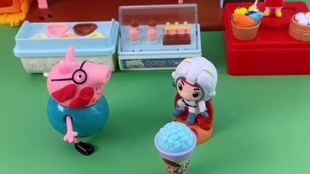 猪爸爸开店在外面卖雪糕,猪妈妈乔治过去吃,猪爸爸会不会收钱?