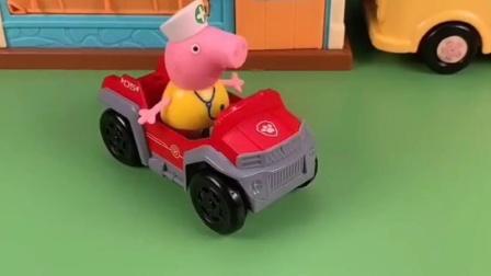 猪爸爸刚给佩奇乔治买的车吗,佩奇乔治还是车队吗,都想上哪呢?