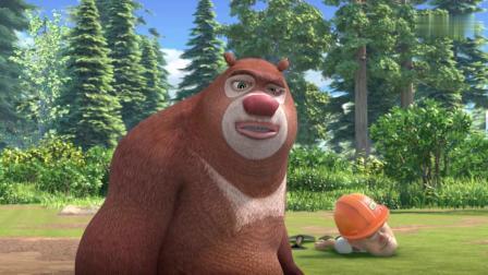 熊出没:狗熊当跟屁虫,光头强甩不掉,躲河里不行爬树上也不行!