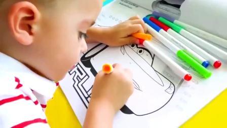 萌娃玩游戏:萌娃小可爱变成小画家,各种各样的画,萌娃:我还要画汽车