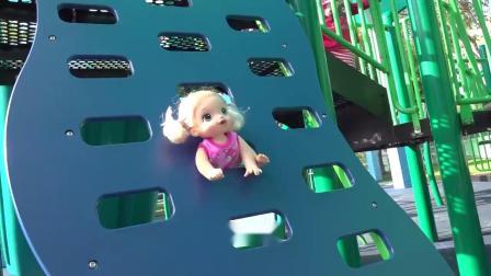 萌娃玩游戏:萌娃小可爱来寻找娃娃,娃娃跑到了公园玩,萌娃:不要乱跑
