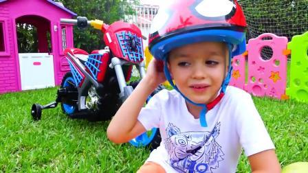 萌娃玩游戏:萌娃小可爱要骑车出门,可是有障碍物,这可怎么办?