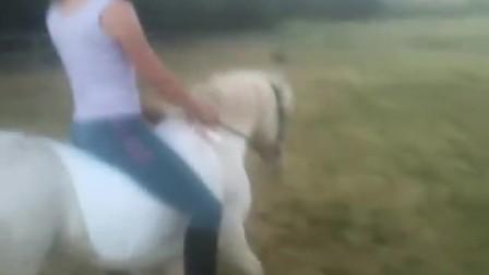美女骑小马驾驭马场