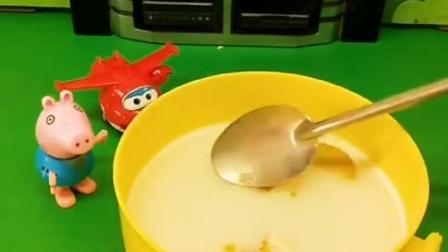 乔治在家老是自己在家看电视,看的自己的肚子很饿,在家泡奶粉?