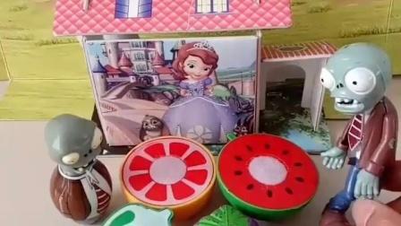 亲子幼教有趣玩具:僵尸吃了小僵尸多少水果蔬菜
