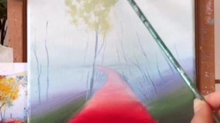 《丙烯画中级》9.独走在林荫小径