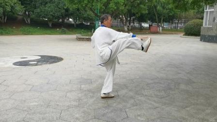 杨乃景于2020年10月7日在龍港公园晨练48式太极拳。