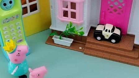 佩奇怎么爬到楼上的,自己下不来,乔治只能叫猪爸爸猪妈妈帮忙!
