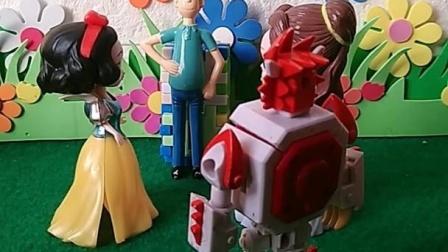 白雪公主和贝儿公主找王子玩,还有小怪兽在,公主会保护他的