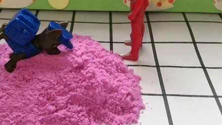 怪兽躲在沙子里,被阿奇找到交给奥特曼了