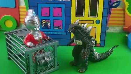 怪兽抓了小奥特曼,小奥特曼轻松的跑掉了