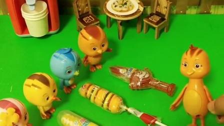 鸡妈妈打算出去,买了四个不同的糖留给孩子们,但是朵朵都想吃