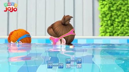 我在宝宝学游泳截了一段小视频