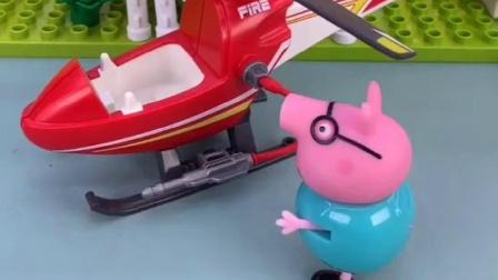 猪爸爸还想要开车出去玩,他的肚子真的太大,车子都坐不上去啊!